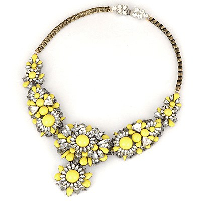 Baptism Yellow Flower Gemstone Decorated Design Alloy Bib Necklaces