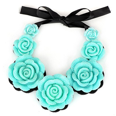 Mechanic Blue Rose Flower Fake Collar Design Alloy Bib Necklaces
