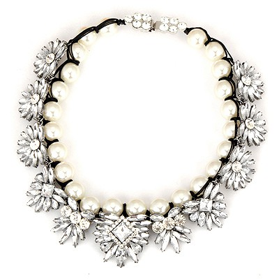 Quicksilve White Gemstone Flower And Pearls Weave Design