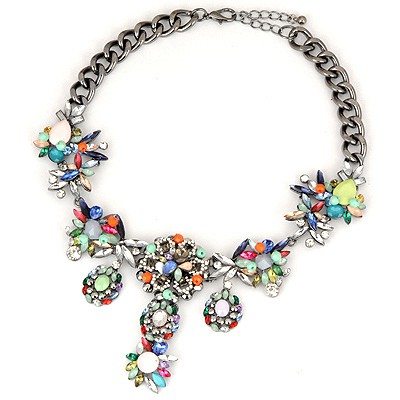 Varsity Multicolor Cute Flower Gemstone Pendant Design Alloy Bib Necklaces