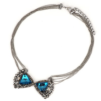 Top Rated Blue Gemstone Bowknot Pendant Six Layers Design Alloy Bib Necklaces