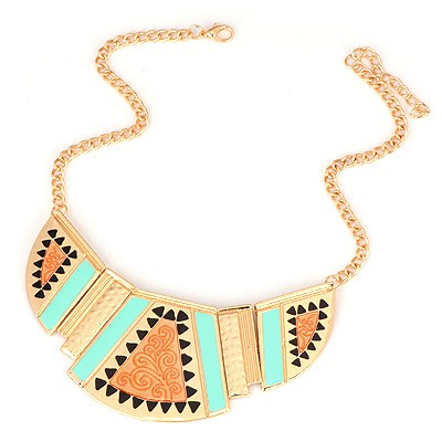 Rave Gold Color Enamel Geometric Shape Pendant Design Alloy Bib Necklaces