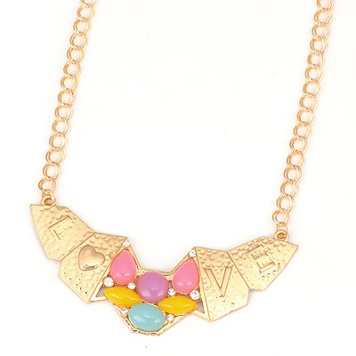 Folding Yellow Irregular Shape Love Symbol Design Alloy Bib Necklaces