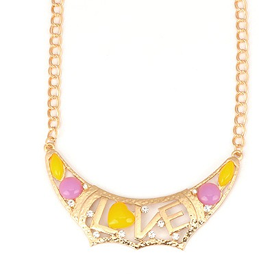 2013 Multicolor Romantic Hollow Out Love Design Alloy Bib Necklaces