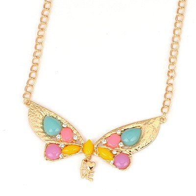 Active Multicolor Gemstone Decorated Butterfly Shape Design Alloy Bib Necklaces