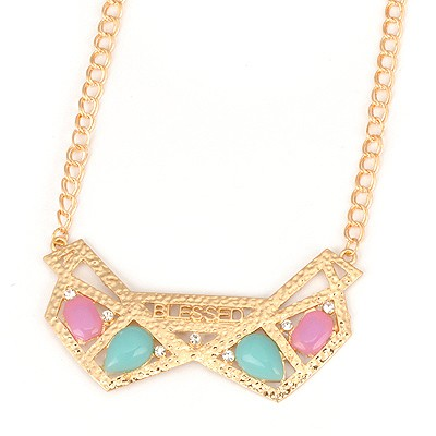 Affinity Gold Color Hollow Out Geometric Shape Design Alloy Bib Necklaces