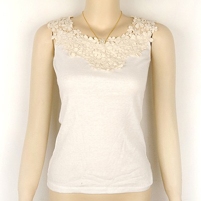Fused White Flower Collar Cotton Slim Shirt Vest Cotton Blends Tshirt