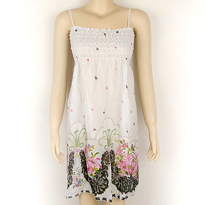 Unique White Bohemian Style Flower Pattern Fit Slim