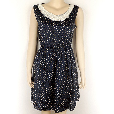 Magnetic Dark Blue Hand Made Bead Collar Dot Pattern Chiffon Long Dress
