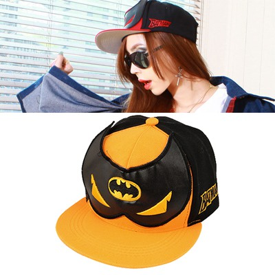 Double Orange&Black Embroidery Betman Design Cotton Polyester Baseball Caps