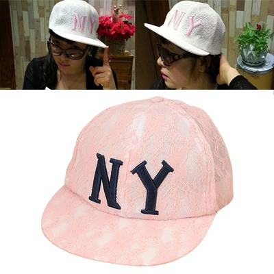 Standard Pink Embroidery Ny Lace Flower Design Cotton Polyester Fashion Hats