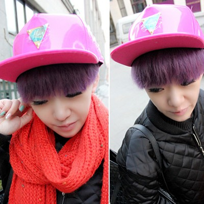 Exquisite Plum Red Hater Metal Triangle Decorated Design Canvas Baseball Caps