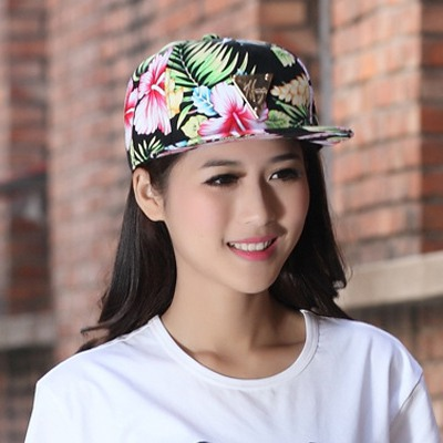Rasta Multicolor Charm Flower Pattern Design Canvas Baseball Caps