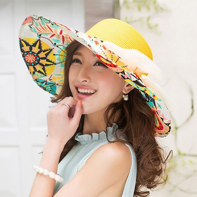Vintage Yellow Flower Printed Brim With Big Bow Design