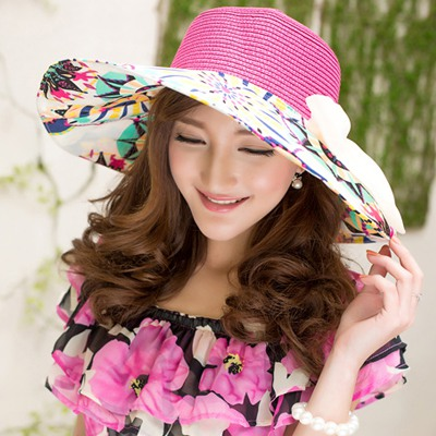 Funky Plum Red Flower Printed Brim With Big Bow Design Straw Sun Hats