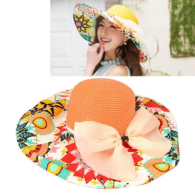 Circle Orange Flower Printed Brim With Big Bow Design
