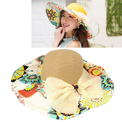 Native Khaki Flower Printed Brim With Big Bow Design Straw Sun Hats