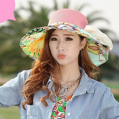 Milly Pink Flower Printed Brim With Big Bow Design