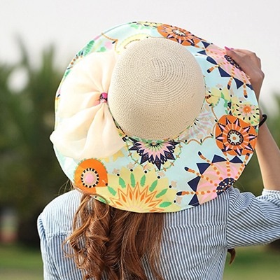 Wrap Beige Flower Printed Brim With Big Bow Design Straw Sun Hats