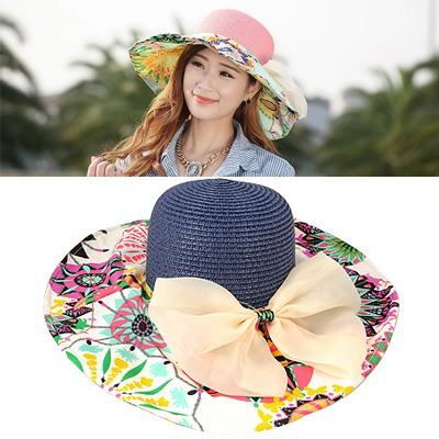Elephant Blue&White Flower Printed Brim With Big Bow Design