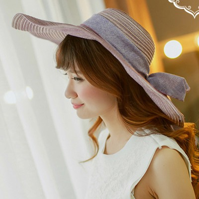 Posh Picture Color Big Bowknot Decorated Large Brim Design Straw Sun Hats