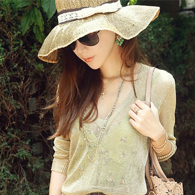Designer Apricot Lace Bow Decorated Wide Brim Design Straw Sun Hats