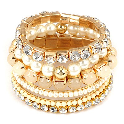 Attractive Gold Color Multilayer Diamond Decorated Design Alloy Fashion Bangles
