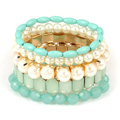 Custom Green Multilayer Gemstone Design Alloy Fashion Bangles