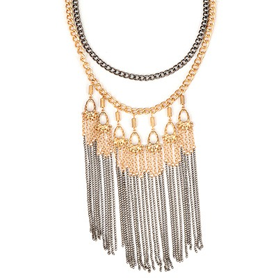 Winding Photo Color Tassels Simple Design Alloy Bib Necklaces