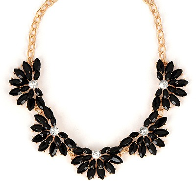 Lilac Black Flower Shape Gemstone Design Alloy Bib Necklaces