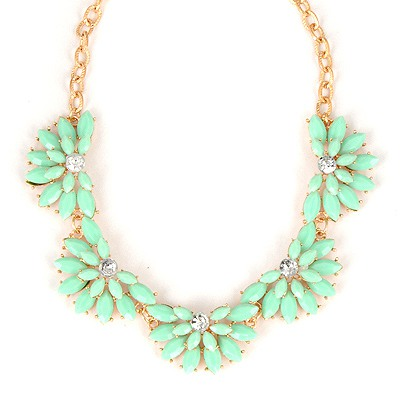 Montgomery Green Flower Shape Gemstone Design Alloy Bib Necklaces