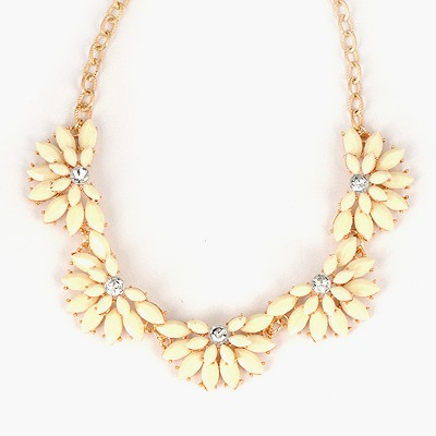 Lilac Creamy White Flower Shape Gemstone Design Alloy Bib Necklaces