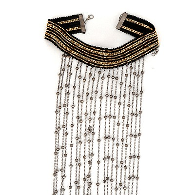 Homecoming Gun Black Wide Tassels Design Alloy Bib Necklaces