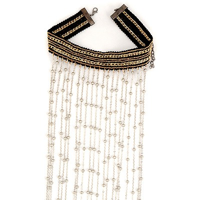 Choker Silver Color Wide Tassels Design Alloy Chokers