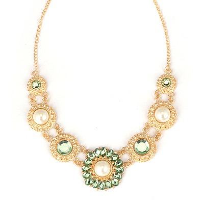 Misses Green Round Shape Pearl Decorated Alloy Bib Necklaces