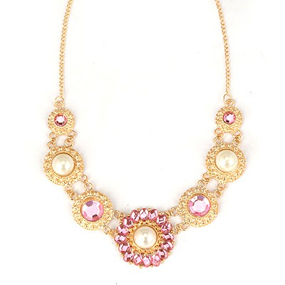 Varsity Pink Round Shape Pearl Decorated Alloy Bib Necklaces