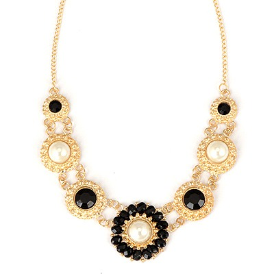 Gorgeous Black Round Shape Pearl Decorated Alloy Bib Necklaces
