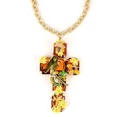 Postal Yellow Cross Insect Decorated Alloy Chains