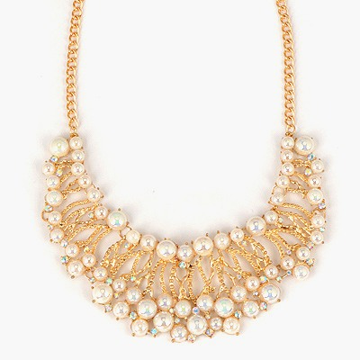 Micro White Crescent Shape Hollow Out Design Alloy Bib Necklaces