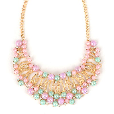 Rolling Multicolor Crescent Shape Hollow Out Design Alloy Chains
