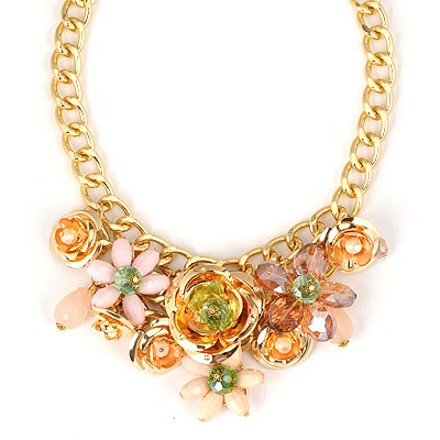 Nautical Pink Flower Shape Gemstone Decorated Alloy Bib Necklaces