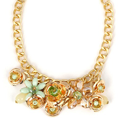 Fashion Green Flower Shape Gemstone Decorated Alloy Bib Necklaces