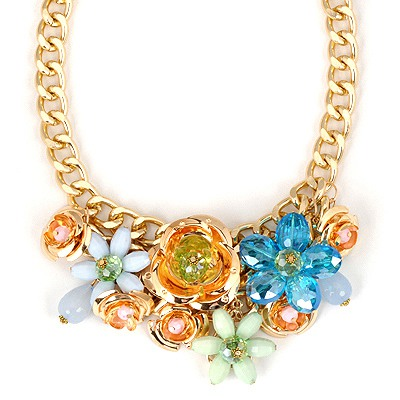 Afrocentri Blue Flower Shape Gemstone Decorated Alloy Bib Necklaces