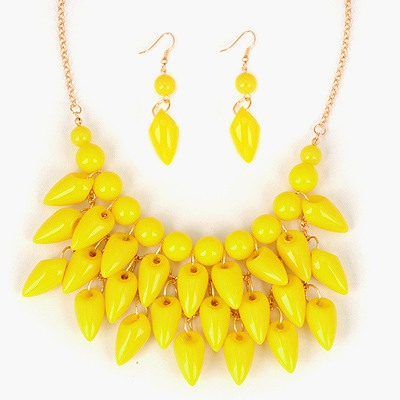 Wonderful Yellow Pepper Shape Tassels Design Alloy Jewelry Sets