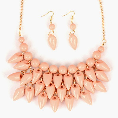 Cocktail Pink Pepper Shape Tassels Design Alloy Jewelry Sets