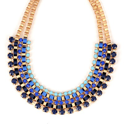 Splendid Blue Diamond Decorated Weave Design Alloy Bib Necklaces