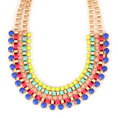 Automatic Multicolor Diamond Decorated Weave Design Alloy Bib Necklaces