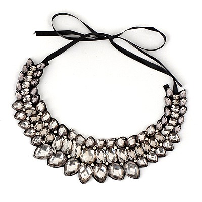 Collapsibl Gray Geometry Water Drop Shape Alloy Bib Necklaces