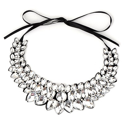 Fall White Geometry water Drop Shape Alloy Bib Necklaces