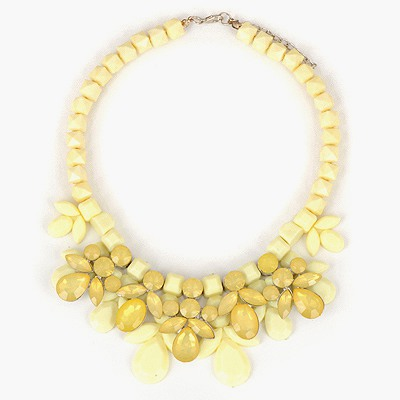Barbie Yellow Gemstone Decorated Design Alloy Bib Necklaces